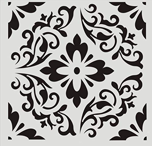 FOUR-C Floral Painting Stencils for Floor Wall Tile Fabric Furniture Wood Burning Art Craft Supplies Mandala Template-Reusable A3-1212 in