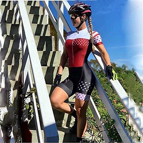 Triatlón para mujer Ciclismo de manga corta Jersey, pantalones cortos, mono, sudadera, traje de baño transpirable (Color : 99, Size : X-Large)
