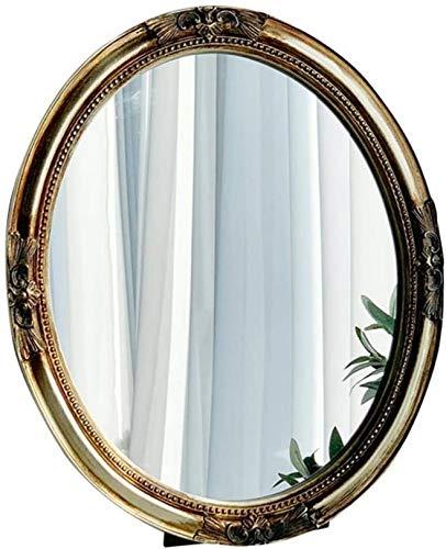 Tocador Espejo Decorativo Ovalado Diseño Tallado Montado en la Pared WWJy gabineteLuz de Lujo Estilo de Palacio Shabby Chic Decoración del hogar