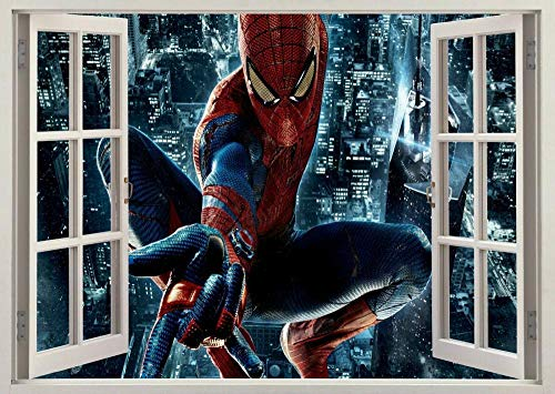 HUJL Wall Sticker Spider Super Removable 3D Window Wall Sticker Poster Vinyl Decal