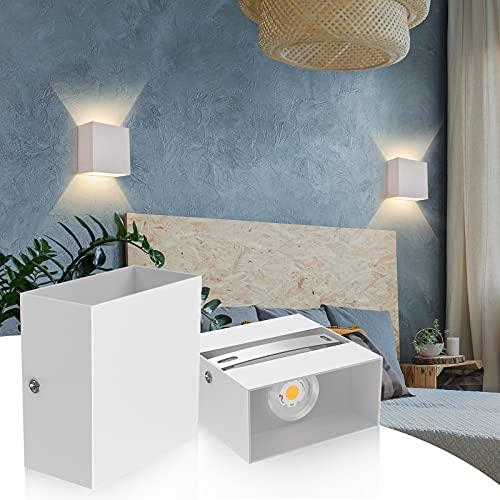 2Pcs Aplique Pared Interior, 12W Apliques Pared LED Moderna, Lamparas Pared LED 3000K Blanco Cálido Perfecto para Salon Dormitorio Sala Pasillo Escalera - Blanco [Clase de eficiencia energética A++]