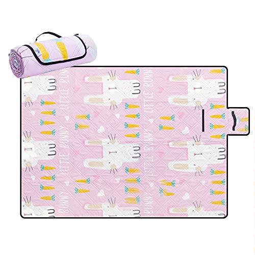 Pinke Picknickdecke mit Hasen-Motiv, wasserabweisend, Stranddecke, sanddicht, winddicht, mit Heringen, maschinenwaschbar, Outdoor-Decke