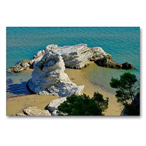Premium Textil-Leinwand 90 x 60 cm Quer-Format Strand in Apulien   Wandbild, HD-Bild auf Keilrahmen, Fertigbild auf hochwertigem Vlies, Leinwanddruck von LianeM