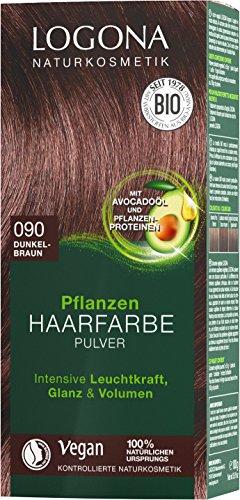 LOGONA Naturkosmetik Pflanzen-Haarfarbe Pulver 090 Dunkelbraun, Vegan & Natürlich, Braune Natur-Haarfarbe mit Henna & Shikakai, Coloration, 100g