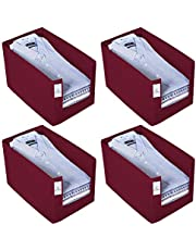Kuber Industries 4 Piece Non Woven Shirt Stacker Wardrobe Organizer Set, Maroon-CTKTC31843