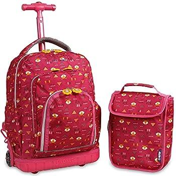 J World New York Kids  Lollipop Rolling Backpack & Lunch Bag Set Fox One Size