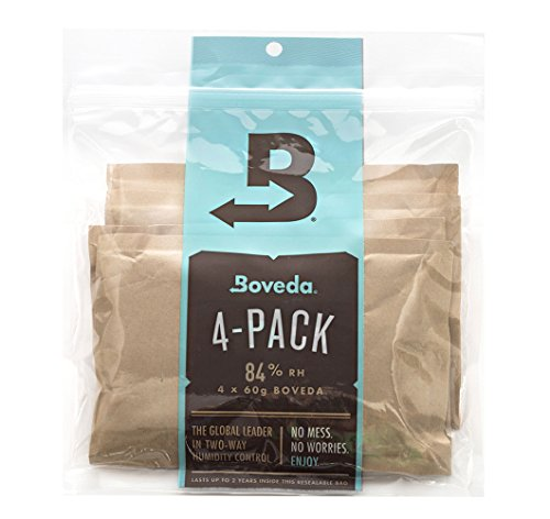 Boveda for Cigars | 84% RH Humidity Control Packs for Humidor Seasoning | Size Large for Use with 25- to 100-Count Cigar Humidors | Properly Seasons a Wood Humidor in 14 Days | 4-Count Resealable Bag