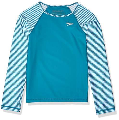 Speedo Mädchen UV-Schwimm-Shirt, langärmelig, Rashguard, Mädchen, Rashguard, Uv Swim Shirt Long Sleeve Rashguard Printed, Türkis, Medium