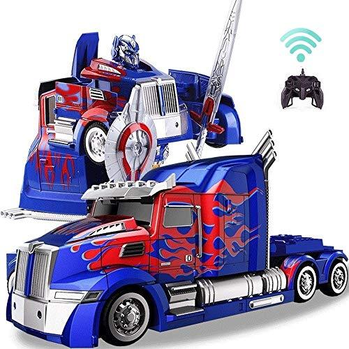 AIOJY Control remoto de camiones Deformación Optimus Prime RC juguete transformable Robot 360 ° Velocidad de deriva Camión articulado 11 años de edad fiesta de cumpleaños de robot de juguete Modelo AB