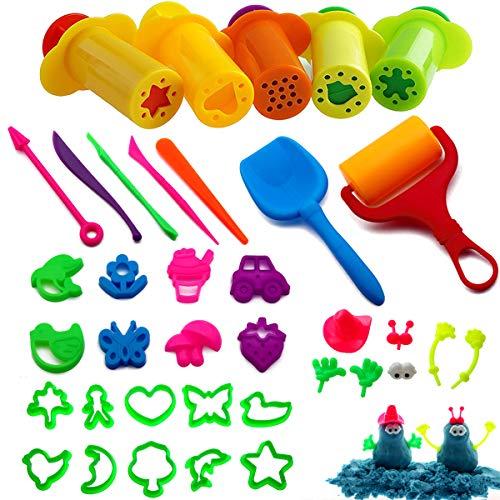 BESTZY Utensili Pasta plastilina, 37 Pezzi Giocattoli di Modellazione per Bambini con Kit di Stampi per Estrusori, Colori Casuali