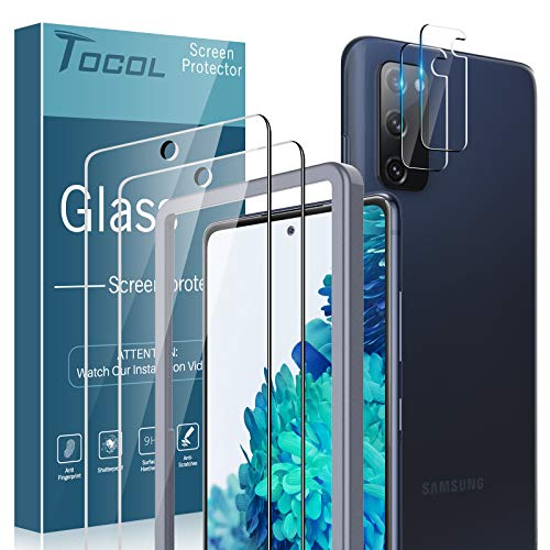 TOCOL 4 Pack Compatible with Samsung Galaxy S20 FE 5G, Galaxy S20 FE 5G UW - 2 Pack Screen Protector Tempered Glass and 2 Pack Tempered Glass Camera Lens Protector HD Clear Bubble Free Case Friendly
