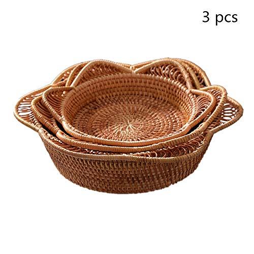 Cestini portaoggetti Rotonda del rattan di frutta di immagazzinaggio dell'esposizione carrello tessuto mano Pane Serving carrello Vassoio Snack for Coffee Table Set di 3 Corda del cotone Basket