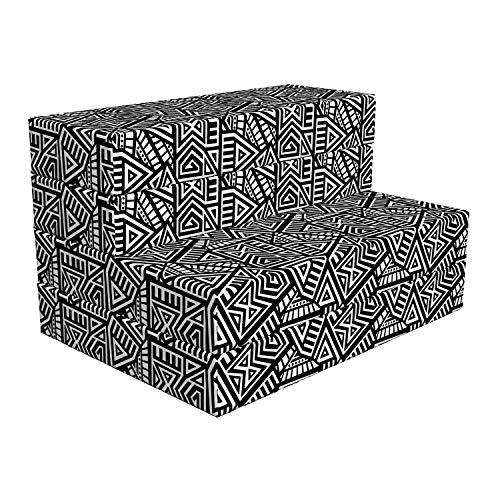 ABAKUHAUS aztekisch Faltbare Matratze, Boho Folk Geometrische Labyrinth, 190 cm x 90 cm, Weiß und Schwarz