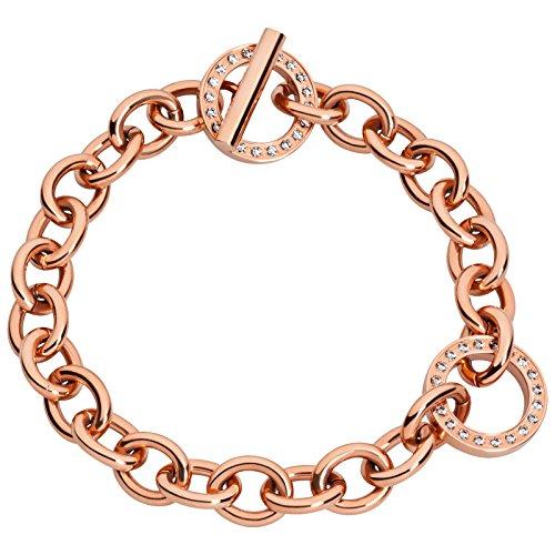 Tamaris Damen-Armband Juliet Stahl IP roségold m. Zirkonia Steinen, Knebelverschluß Edelstahl teilvergoldet weiß 21.0 cm - A04532010