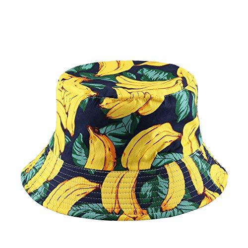 Faletony Sombrero de pescador unisex con impresión, sombrero de sol, ambos lados, cómodo, para exterior, sombrero de verano para senderismo, deportes de playa plátano XX-Large