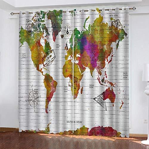 IZYLWZ 3D Vorhänge Bunte Weltkarte Blickdicht mit Ösen Vorhang 2 Stück 264cmx242cm Energiespar Thermo Blackout Gardinen für Moderne Wohnzimmer Schlafzimmer Tür