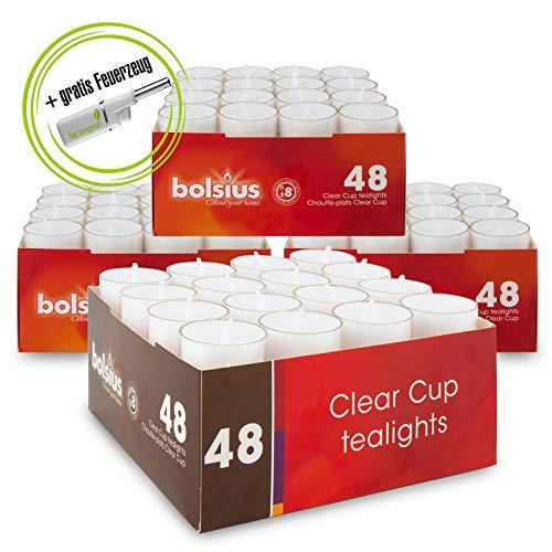 DecoLite: Teelichte mit 8 Stunden Brenndauer im durchsichtigem Becher (Bolsius) & Stabfeuerzeug Kerzenprofi - 4 Packungen Teelichter (192 Stück)
