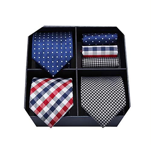 HISDERN Lot 3 Stuck Herren Krawatte Set, Hochzeit Krawatten Set, Krawatte & Einstecktuch/Taschentuch, Weihnachten Geburtstag Geschenk für Herren - Mehrere Sets