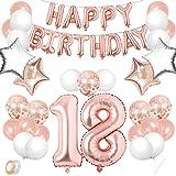 TaimeiMao 18er Cumpleaños Globos, Decoración de Cumpleaños 18 , Globos Numeros Decoracion,Globos de Cumpleãnos,Globos Numeros Gigantes,Globo Numero,Globos Numeros Gigantes para Fiestas (Oro Rosa, 18)