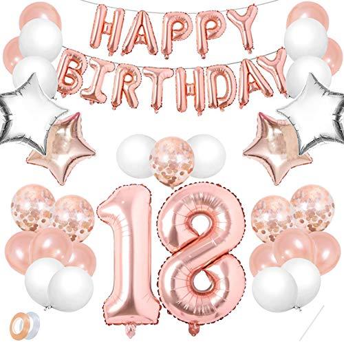 Luftballon 18. Geburtstag Rosegold,Geburtstagsdeko 18 Jahr Mädchen,Happy Birthday Dekoration Zahl,kunterbunte Luftballons Metallic,Nummerndekoration,Riesen Folienballon,Happy Birthday Dekoration