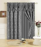 All American Collection New 4 Piece Drape Set with Attached Valance and Sheer with 2 Tie Backs Included (84' Length, Grey)