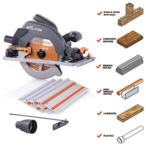 Evolution Power Tools R185CCSX 7-1/4' Multi-Material Circular Track Saw Kit w/ 40' Track