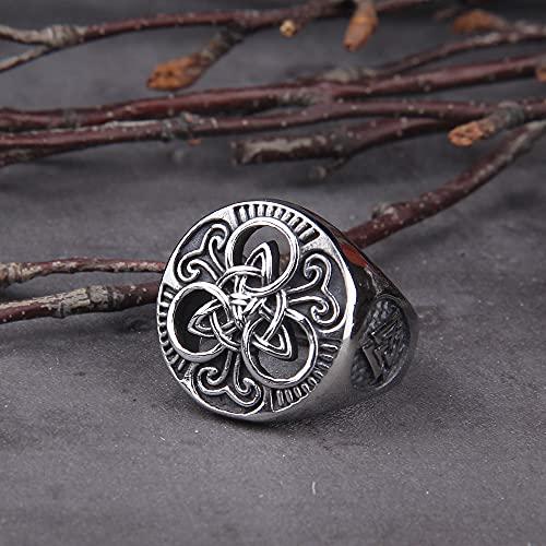 WTZWY Anillo Clásico para Hombre con Símbolo de Triskele Amuleto Artesanal Genuino Joyería Vikinga Diseño de Acero Inoxidable Regalos Nativos Americanos para Hombres,8