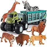 kimonca Camion de Transporte Figuras Animales Salvajes Juguete Educativo Regalos para 3 4 5 Años Niños Niñas