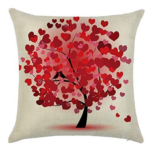 KnBoB Funda Cojin Árbol de Amor 40 x 40 cm Lino Rojo Estilo 10