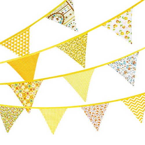Whaline Fabric Bunting Banner 12 Pcs Double Sided Triangle Flags Garland, 11.8 Feet Vintage Floral Pennant Flags for Wedding Birthday Parties Baby Shower Home Decoration (Yellow)