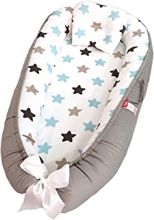 ZYEZI Portable Crib,snuggly Soft Sleeping Pod Pillow Bedroom Travel 100% Cotton Swaddling Wrap For Newborn Babies