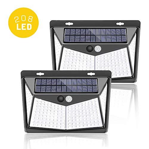 Comter Solarleuchte für Außen, 208 LED Solarlampe Außen 270° Superhelle Solarleuchte mit Bewegungsmelder Sicherheitswandleuchte 3 Modi [1200mAh] wasserdichte Wandleuchte Garten [2 Stück]