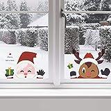BININBOX クリスマススノーフレークウィンドウステッカー ホリデークリスマスデカール スノーフレーク サンタクロース トナカイ ガラスドア/窓/ミラー用 クリスマスパーティーの装飾に最適 (メリークリスマス)