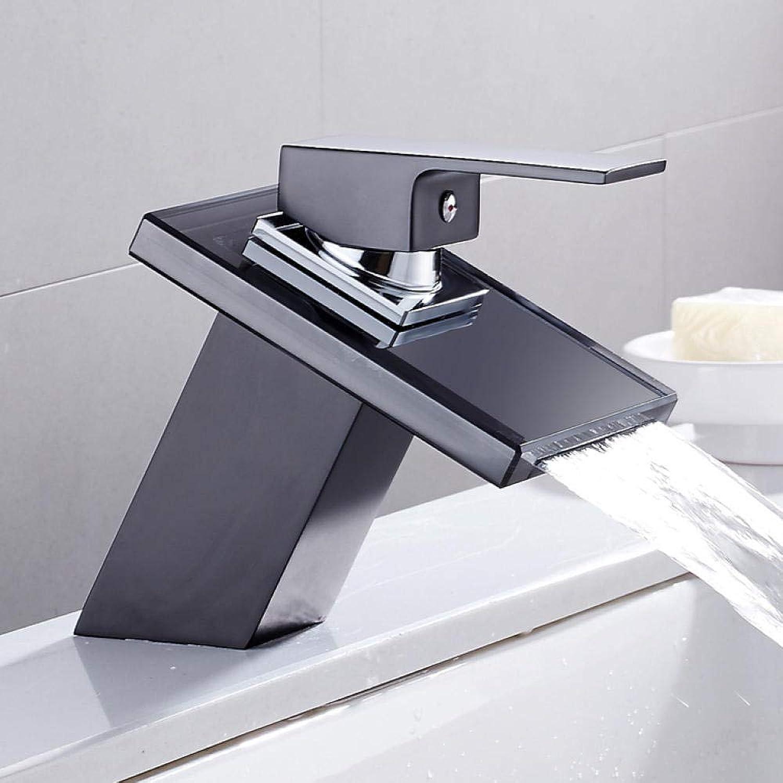 Lddpl Wasserhahn Massivglas Wasserfall Waschbecken Wasserhahn für Badezimmer Schwarz Deck Mount Platz Vanity Sink Mischbatterie Einhebel