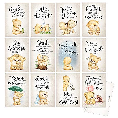 Postkartenset mit 12 Postkarten. 12 verschiedene Sprüche zum Thema Liebe, Freundschaft, Du bist toll, Danke, dass es Dich gibt. 12 verschiedene Motive mit passendem Spruch.