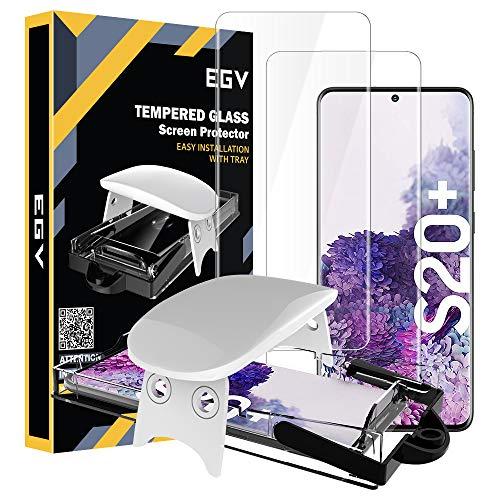 EGV Protector de Pantalla para Samsung Galaxy S20 Plus (6.7 Pulgadas),[3D Cristal Vidrio Templado] [Admite reconocimiento de Huellas Digitales] [Dureza 9H] Película Protectora Pantalla Glas