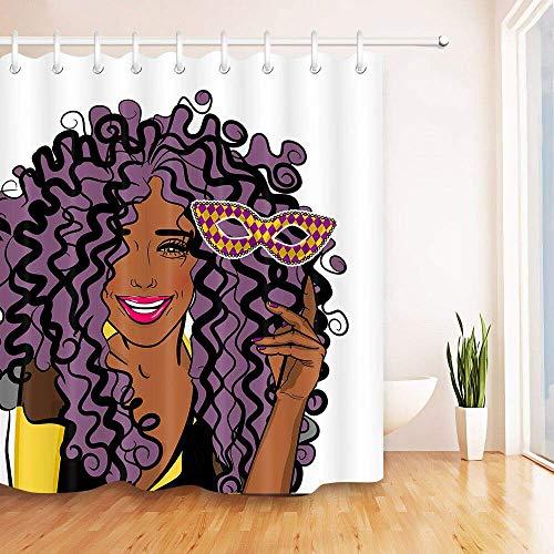 123456789 Karneval Maske Karneval Afroamerikanerfrau wasserdicht Duschvorhang Polyester-Material kann in der Maschine gewaschen Werden