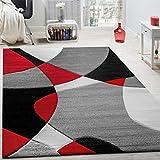 Paco Home Tappeto di Design Moderno Motivo Geometrico Taglio Sagomato in Rosso Nero Grigio, Dimensione:120x170 cm