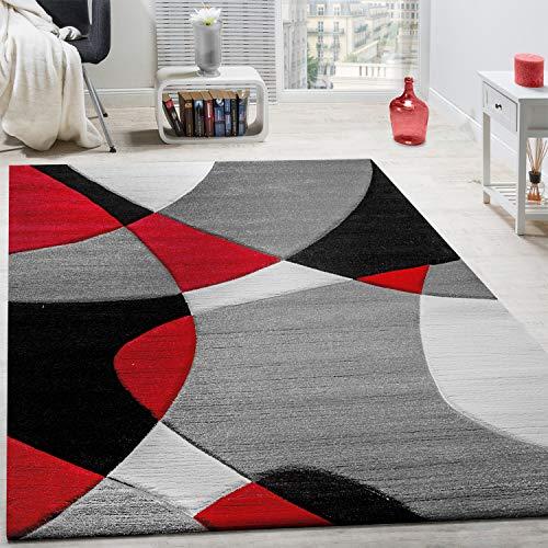 Paco Home Tappeto di Design Moderno Motivo Geometrico Taglio Sagomato in Rosso Nero Grigio, Dimensione:160x230 cm