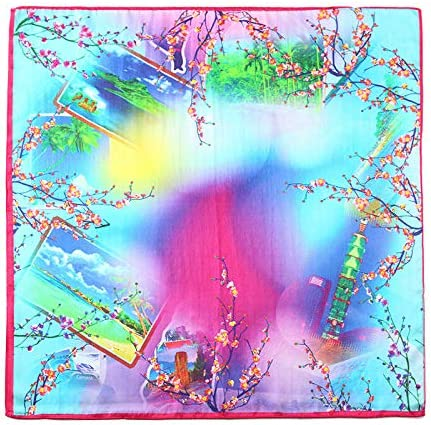 Plum Blossom Women's Square Scarf 100% Pure Silk Necktie of Fashion Collections 55Cm 55Cm