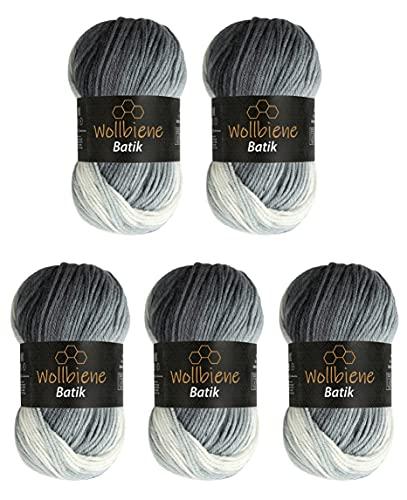 5 x 100g Wollbiene Batik 500 Gramm Wolle mit Farbverlauf mehrfarbig Multicolor Strickwolle Häkelwolle (5000 schwarz grau weiß)