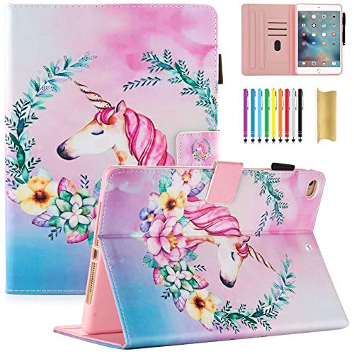 Dteck iPad 6th 5th Generation Case, iPad Air 1 2 Case, Slim Fit Cute Pattern for Girls Folio Multi Angle Stand Auto Sleep Wake Smart Cover for Apple iPad 9.7 2018/2017, iPad Air 1 2, Floral Unicorn