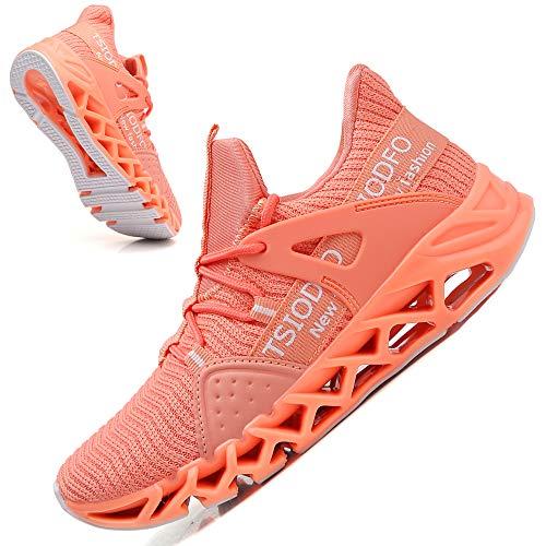 Ezkrwxn Tennis Shoes for Women Sneakers Fashion Casual Slip on Sport Running Walking Shoes Slip on Non Slip Gym Trail Runner Blade Athletic Jogging Shoe Orange Pink Size 6.5
