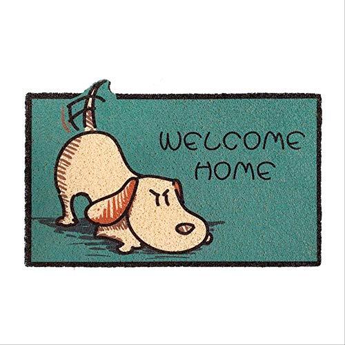 Dihge Felpudo de dibujos animados para casa, baño, salón, entrada, suelo, escaleras, cocina, dormitorio, pasillo, PVC, antideslizante, 40 x 60 cm, alarma de perro