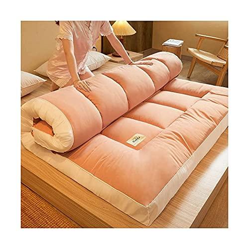 DO.CKEB Colchones de Futón de Suelo Japoneses Tradicionales, Tapetes de Cojín Plegables Tatami, Yoga, Cojín para Dormir Portátil Cama de Piso Topper de La Almohadilla del Colchón,Rouge,Queen