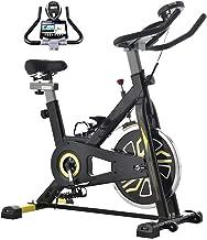 Indoor fietsen fiets stationaire hometrainer, comfortabele zitkussen, iPad houder met LCD-monitor voor thuis cardio workou...