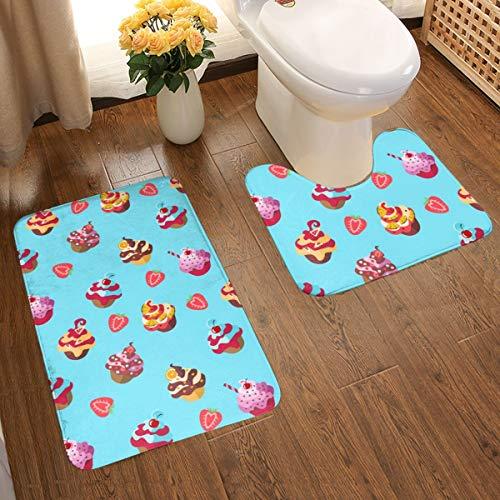 Bathroom Rug Set 2 Piece, Anti-Skid Large Size Bathroom Rugs Bath Mat Contour Set for Bath Tub Cartoon Pattern Cake Fast Dry Bath Set - 1 Tub Shower Bath Rug + 1 U-Shaped Toilet Mat