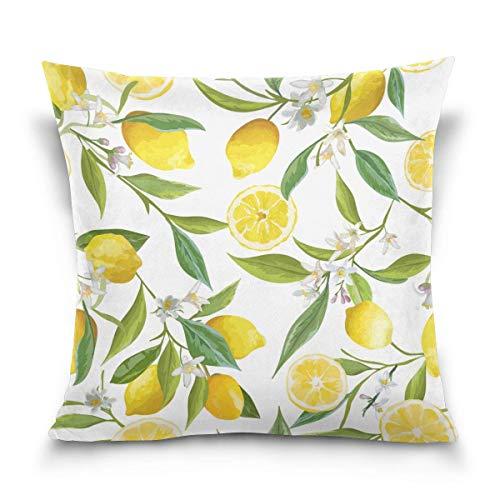 45x45cm Funda Throw Pillow Case Almohada Cojín Flor Vintage Flor Hojas Fruta Limón Fundas colchón Cojines Decorativa Cuadrado sofá