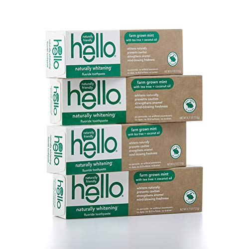 Hello Oral Care Naturally Whitening Fluoride Toothpaste, Vegan & SLS Free,...
