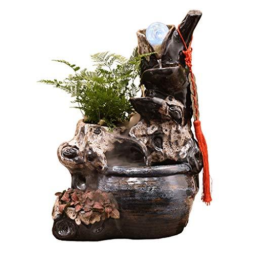 Zlw-shop Außen Springbrunnen/Indoor-Bonsai 4-Tier Cascading Tabletop-Brunnen Dekorative Wasserfall-Brunnen mit Vernebler Indoor/Outdoor-Wasser-Brunnen-Dekor (braun) Zimmerbrunnen (Color : A)